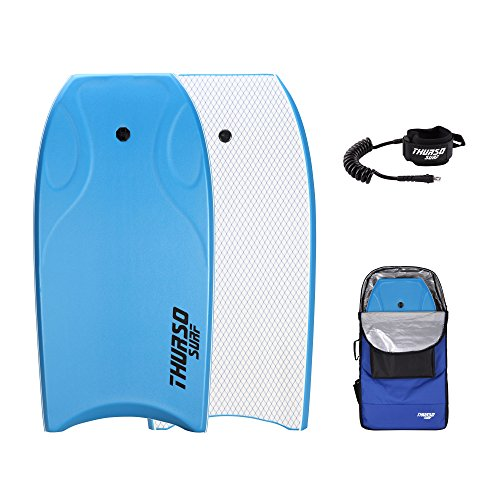 THURSO SURF Lightning 42'' Bodyboard Package PE Core IXPE Deck HDPE Slick Bottom Durable Lightweight Includes Double Stainless Steel Swivels Leash and LUX Bodyboard Bag (Azure)
