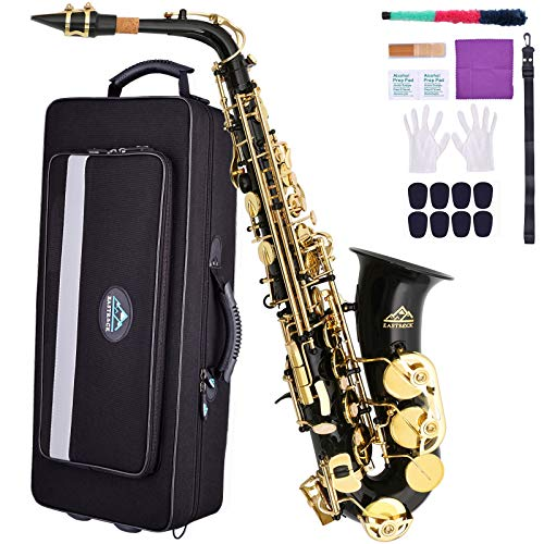 EASTROCK Black/Gold Key Alto Saxophone E Flat Sax Full Kit for Students Beginner with Carrying Waterproof Case,Mouthpiece,Mouthpiece Cushion Pads,Cleaning Cloth&Cleaning Rod,White Gloves,Neck Strap