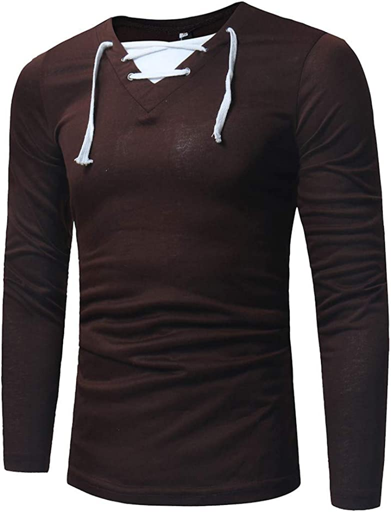 Mens Casual Classic Comfort Slim Fit Basic Long Sleeve Henley Cotton T Shirt