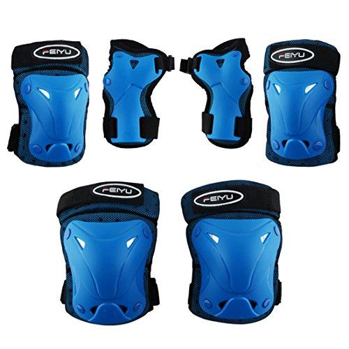 Vicoki Kinder Protektorenset, 6 Stücke Kinder Junior Knieschoner Ellenbogenschützer Handgelenkschoner Schutzset für Teenager Outdoor Sport Pad Set Size XS (Blau)