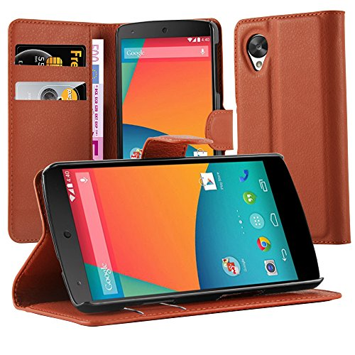 Cadorabo Funda Libro para Motorola Nexus 5 en MARRÓN Chocolate - Cubierta Proteccíon con Cierre Magnético, Tarjetero y Función de Suporte - Etui Case Cover Carcasa