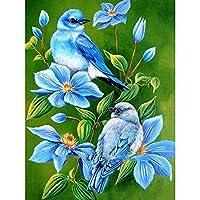 リラクゼーションと家の壁の装飾のための5DDIYフルドリルダイヤモンド絵画ダイヤモンド図面(40x50cm)青い花と鳥のダイヤモンド絵画