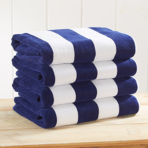 4 Pack Plush Velour 100% Cotton Beach Towels. Cabana Stripe Pool Towels for Adults. (Navy, 4 Pack- 30