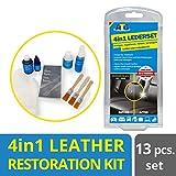 ATG Juego 4en1 Limpiador reparador Cuero y Cuero sintético, Limpia, tiñe, repara y Sella, 12 Piezas, Color: Negro