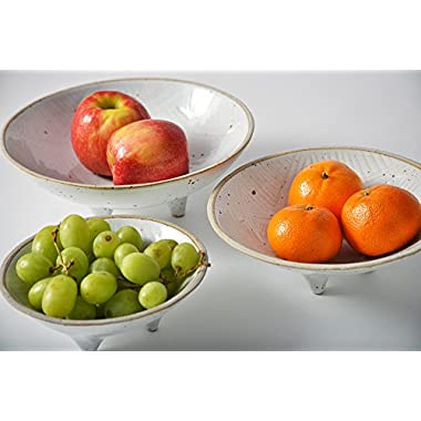 Pangu Porcelain 3-Piece-Set Handmade Fruit Plate ------Diameter 9 ,7.5 ,6 - Home Decor Accessories (White)