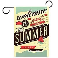 小さな庭の旗庭の装飾芝生の装飾ホオジロ旗屋外の農家の装飾 夏の芸術へようこそ 両面バナー紬生地