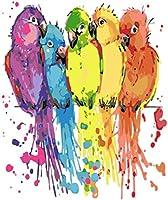 数字でペイントカラフルなオウム動物DIY大人のための数字でペイント初心者DIY油絵キャンバス絵画16x20インチフレームレス
