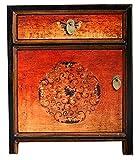 OPIUM OUTLET Mesita de noche asiática china, mesita de noche oriental, cómoda para dormitorio, estilo vintage, color negro y naranja