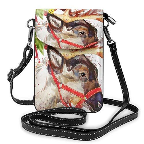 Borsa a tracolla per telefono cellulare con renne Babbo Natale, borsa da donna in pelle PU con cinturino regolabile per la vita quotidiana