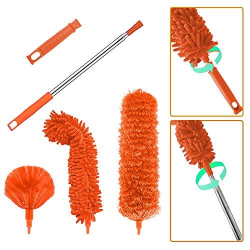 Juego de limpieza de plumero de microfibra, con barra de extensión telescópica de 100 pulgadas, reutilizable, flexible, paños ligeros para limpiar ventiladores de techo