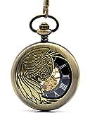 Infinite U Esqueleto Hueco Águila/Ángel/Fénix Colgante Collar Reloj de Bolsillo Mecánico -Bronce