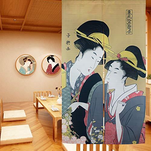 LIGICKY Noren - Cortina de puerta estilo japonés Ukiyoe Geisha para niñas con pintura de tipo largo para puerta, decoración asiática, para el hogar, sushi, cocina, decoración de cocina, 85 x 149 cm