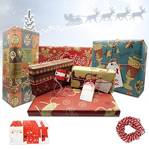 Papel Regalo Navidad Rojo y Blanco Marca ISOI