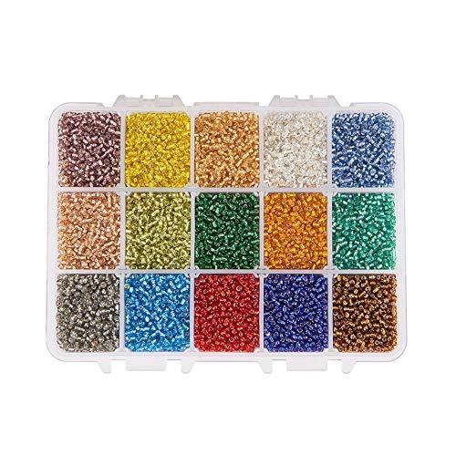 PandaHall PH 500pcs 15 Farbe 8/0 Glas Rocailles 3mm Silber ausgekleidet Perlen mit Container Box für Schmuck Machen