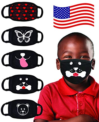 Kids Face Mask Reusable Washable Comfortable - MADE IN USA - Polyester, Spandex,...