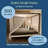 EVEN NATURALS MOSKITONETZ Doppelbett, großes Mückennetz für Bett, feinste Löcher, rechteckiger Netzvorhang Reise, Insektenschutz, 2 Einträge, einfache Anbringung, Tragetasche, Keine Chemikalien - 5