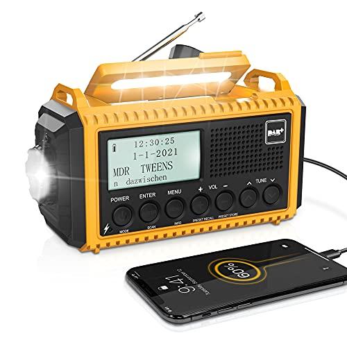 Tragbares Radio DAB+/DAB/FM mit 5000mAh Batterie Kurbelradio mit Preset-Funktion Akku Digitalradio mit Doppel Alarm Solar Radio Dynamo Radio mit LED Camping Licht SOS-Alarm für Camping Wandern Notfall