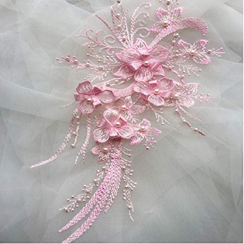 3D Floral Applique, COLINKIND Lace Sewing Beaded Embroidery Motif Craft for Cloth Gown Dress Decor (Pink)