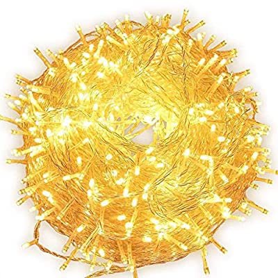 FULLBELL LED String Lights 66 Feet/200 LED Decor, Multiple Flash Modes for Christmas, Party, Wedding, Bedroom, Outdoor Garden and Indoor Decoration, Controllable (Warm White)