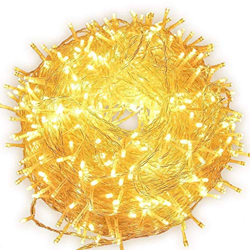 LED String Lights 66 Feet/200 LED Decor, Multiple Flash Modes for Christmas, Party, Wedding, Bedroom, Outdoor Garden and Indoor Decoration, Controllable (Warm White)