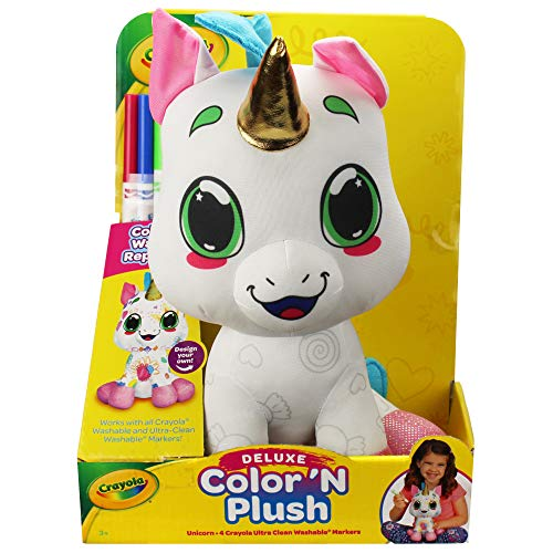 Crayola 12' Deluxe Color 'N Plush Unicorn - Draw, Wash Reuse, Multi,