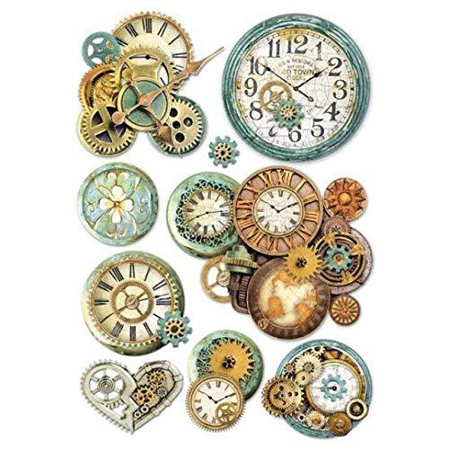 STAMPERIA DFSA4242 A4 Reispapier verpackt-Zahnräder und Uhr, Mehrfarbig, 29.7 x 21