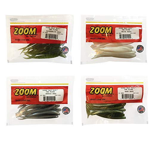 Bundle: Zoom Fluke Bait Lures - 4 1/4' Watermelon Seed 10 Pack, 4 1/4' White Pearl 10 Pack, 4 1/4' Smokin Shadow 10 Pack and 4 1/4' Baby Bass 10 Pack