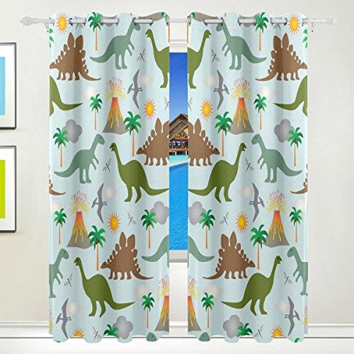 tizorax Dinosaurier Dino Vorhänge Verdunkeln isoliert Blackout Fenster Panel Drapes für Wohnzimmer Schlafzimmer 139,7x 213,4cm, Set von 2Panels