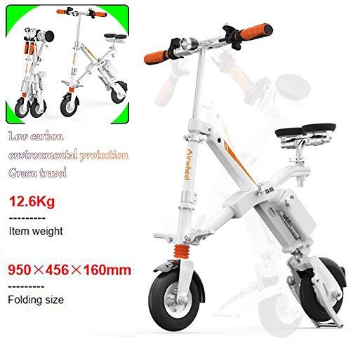 Airwheel Elektrofahrräder Folding Elektro-Scooter E6 Mini Electric Elektro-Scooter Erwachsene Lithium Beweglicher Rucksack Electric Vehicle Scooter (Bereich 25-35Km) Ihr Idealer Partner White