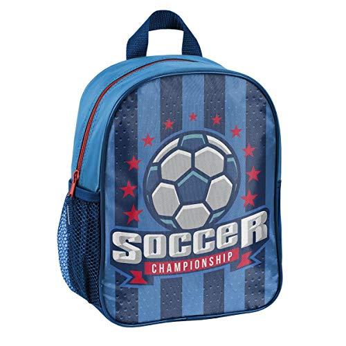 Fussball Soccer Kindergartenrucksack Kinderrucksack für Jungen und Mädchen (303P) mit Hauptfach und Getränkenetz, 28x22x10 cm, blau