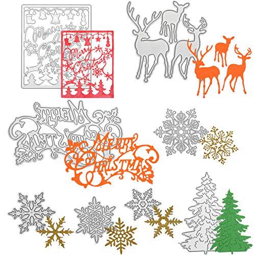 8 troqueles de corte de copo de nieve para árbol de Navidad, plantillas de metal para manualidades, álbumes de recortes, tarjetas