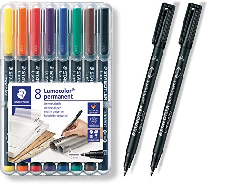 Staedtler 318WP8Permanentmarker, Schwarz, Blau, Braun, Grün, Orange, Rot, Violett, Gelb, transparent, Polypropylene