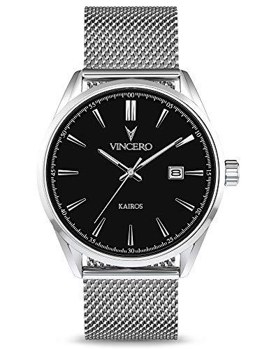 Vincero Luxury Men's Kairos Wrist Watch - Mesh Watch Band - 42mm Analog Watch - Japanese Quartz...
