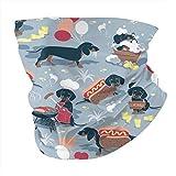 Hot Dogs and Limonada Fondo azul pastel salchicha perro salchicha perro salchicha unisex multifuncional para la cabeza al aire libre bufanda bandana polaina tubo máscara pasamontañas