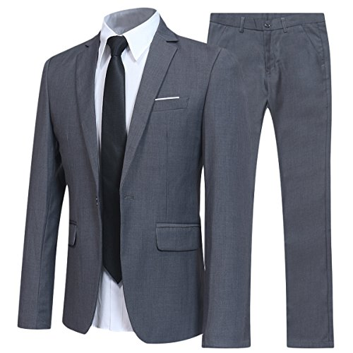 Allthemen Herren 2-Teilig Slim FIT Business Anzug Grau Small