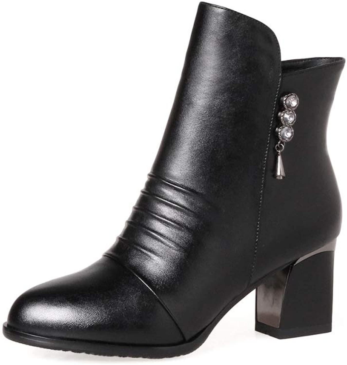 Women Leather Martin Boots 2018 Winter Fashion High Heel Ankle Boots Size 33-43 Short Boots,Black,41