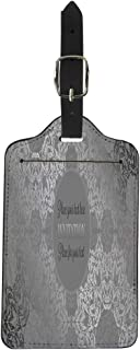 Pinbeam Luggage Tag Luxury Lace in Antique Gray and Silver Colors Suitcase Baggage Label