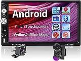 Autoradio Android - Autoradio 2din avec système mains libres Bluetooth / GPS sat nav / caméra de recul, lecteur multimédia à écran tactile de 7 pouces avec Mirrorlink WiFi / FM / AUX / USB / TF