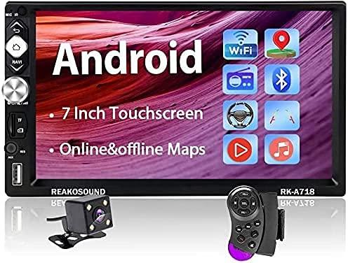 Radio Coche 2 DIN Android - Hodozzy Estéreo para Coche Compatible con WiFi Bluetooth Mirrorlink FM AUX USB TF, Autoradio Bluetooth con Pantalla Táctil de 7    GPS Cámara de Marcha Atrás