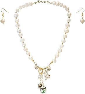 Collar corto de perla cultivada barroca, enjambre, con dijes y cadena de chapa de oro de 14K con aretes