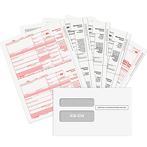 1099 MISC Forms 2020, 4 Part Tax Forms Kit, 25 Vendor Kit of Laser Forms Designed for QuickBooks and Accounting Software, 25 Self Seal Envelopes Included