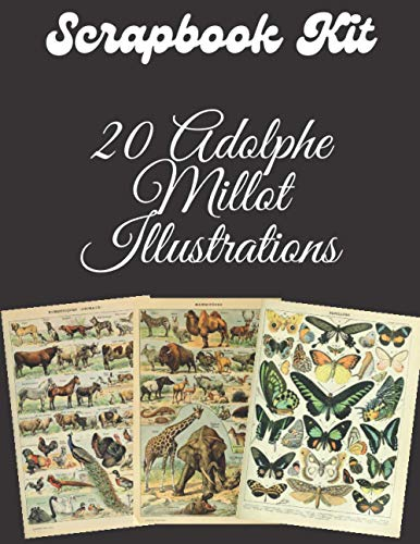 Scrapbook kit - 20 Adolphe Millot Illustrations: Ephemera Elements for Decoupage, Notebooks, Journaling or Scrapbooks. Unique Adolphe Millot Posters for Le Larousse pour tous