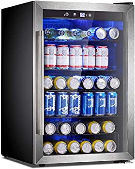 Antarctic Star Beverage Refrigerator Cooler - 145 Can Mini Fridge Glass Door for Soda Beer or Wine Small Drink Dispenser Clear Front for Home Office or Bar black,4.4cu.ft