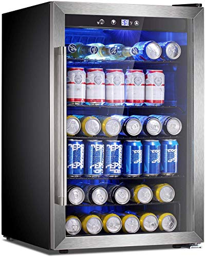 Antarctic Star Beverage Refrigerator Cooler-145 Can Mini Fridge Clear Front Glass Door for Soda Beer Wine Stainless Steel Glass Door Small Drink Dispenser Machine Digital Display for Office,Home, Bar,4.5cu.ft