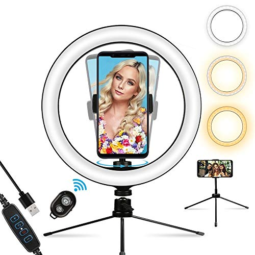 Anneau lumineux LED avec support trépied et support de téléphone, kit de maquillage pour bureau avec 3 couleurs et 10 luminosité pour YouTube, FaceTime, Photographie, Live Streaming