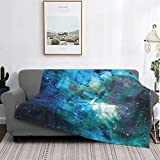 Hello Gorgeous Blankets Blue Green Galaxy Starry Flannel Comfortable Sherpa Blanket Reversible Couch Blanket Lightweight Warm Sofa Blanket for Kids Adults 50'X40'