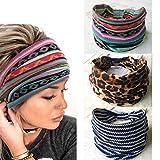 Yean Boho, diademas de leopardo, diademas de turbante con tirantes, bandas elásticas para mujeres y niñas, 3 unidades