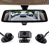 SZDALOS 4CH Blind Spot Rear View Mirror/ 9.88 Full Touch Screen Electronic Rearview Mirror /Steering Triggered Blind Zone Observation / 4 Camera Lens simultaneous Recording / with Two 32G SD Card