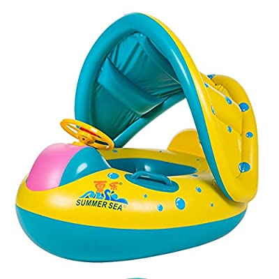 TOAOB Baby Swimming Pool Float with Canopy Inflatable Infant Swim Ring Seat Float Boat with Sunshade Beach Pool Toy Suitable for 6 - 36 Months Babies