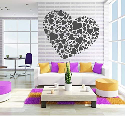Muchkey Pegatinas Pared Etiqueta de Pared Decoración Estilo Love Heart Calcomanía De Vinilo Creativa(Black)
